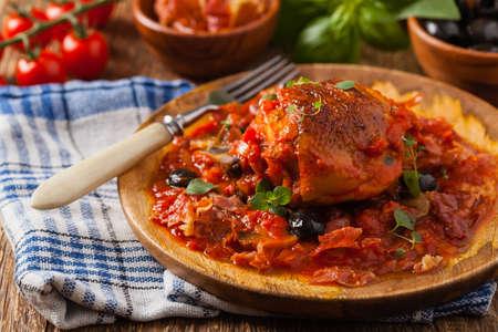 Traditionally made chicken in tomato sauce cacciatore. Front view. Foto de archivo