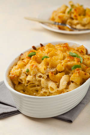 Traditional North American dish. Baked pasta with cheese.