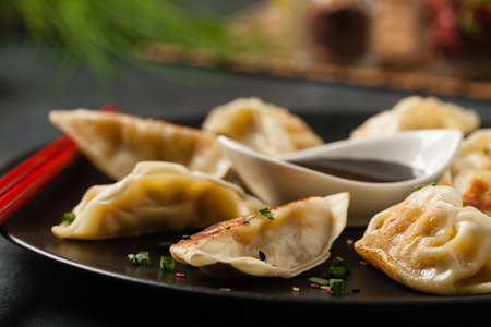 Original Japanese dumplings Gyoza with chicken and vegetables. Front view. Dark blue backgrund.