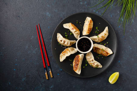 Original Japanese dumplings Gyoza with chicken and vegetables. Top view. Flat lay. Dark blue backgrund. 스톡 콘텐츠