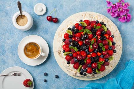Meringue Pavlova cake with fresh fruit. Top view. Stok Fotoğraf