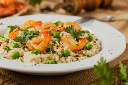 Risotto With Shrimp. Front view.