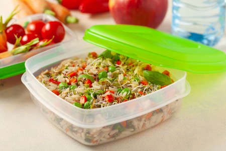 Trendy lunch with rice and vegetables. Served in a portable box on a bright painted background. Perfect for work or school. Front view. Archivio Fotografico
