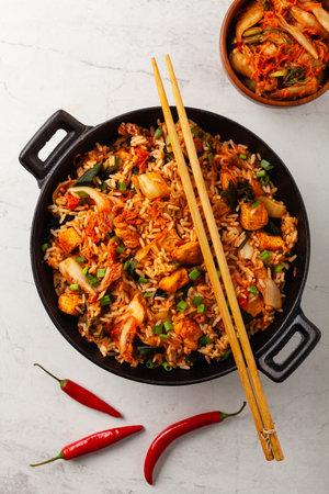 Kimchi cabbage with chicken. Prepared in a wok. Top view. 版權商用圖片