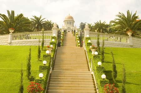 haifa: Bahai Temple in Haifa. Stock Photo