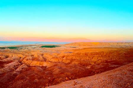 judea: Landscape Of Judea Mountains Near Dead Sea. Sunset.