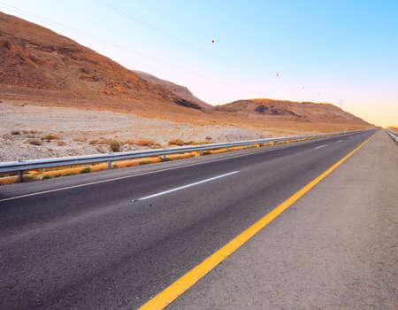 Empty Highway in Desert Near Dead Sea,Israel.  photo