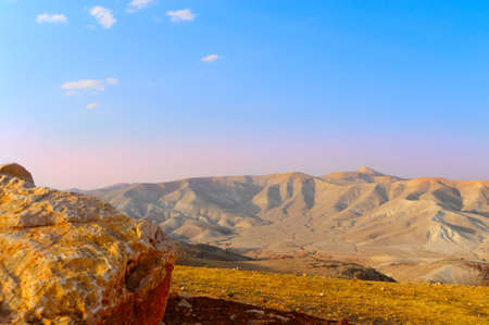 judea: Landscape Of Judea Mountains Near Dead Sea. Sunset