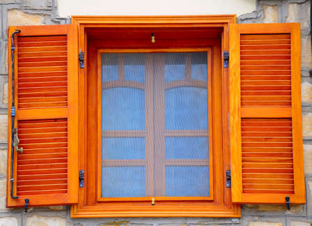 shutters: Closed Window. House In Kabbalah City Of Safed. Stock Photo