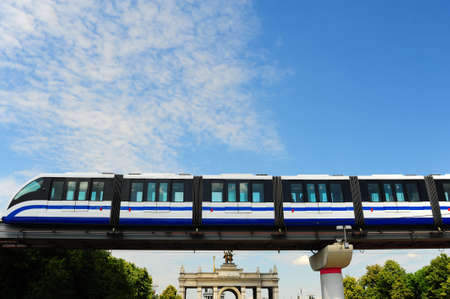 monorail: High Speed Monorail Train In Moscow, Russia. Editorial