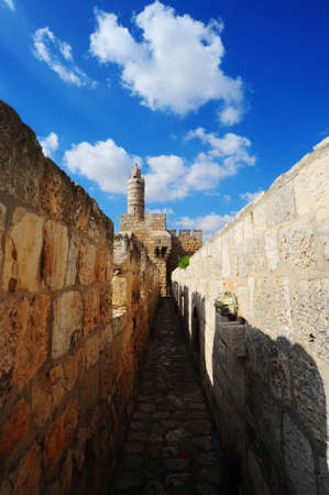View From Top Of Ancient Walls To Tower Of David. Jerusalem Standard-Bild