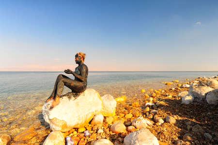 dead sea: Mud Treatment At The Dead Sea, Israel.
