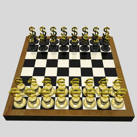 Chessboard On Which Instead Of Chessmen There Are Dollar And Euro. 3d Render photo
