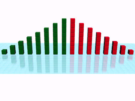 price gain: Business Bar Chart On White Background. 3d Render.