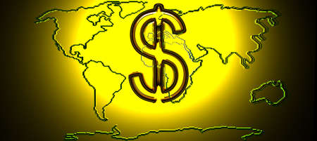 peace risk: Map Of The World With Gold Dollar Sign. 3d Render