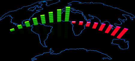 Map Of The World With Business Bar Chart . 3d Render. photo