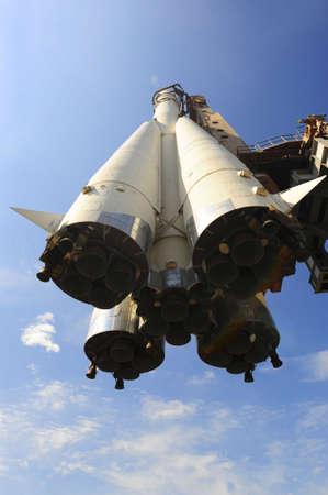 slipway: The Fist Russian Space Ship On The Launching Slipway Stock Photo