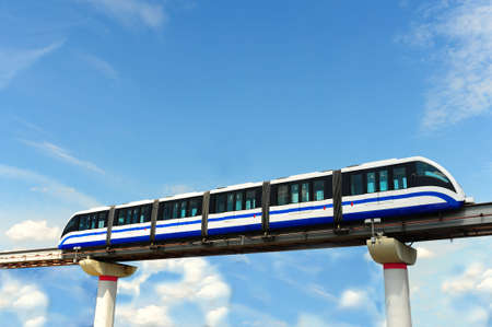 monorail: High Speed Monorail Train In Moscow, Russia. Stock Photo