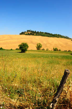 toskana: Tuscan Landscape With an Old Lopsided  Fence In The Foreground Stock Photo