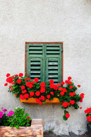 Typical Italian Window With Closed Wooden Shutters, Decorated With Fresh Flowers Standard-Bild