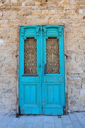 Close-up Image Of Blue Wooden Ancient Israel Door