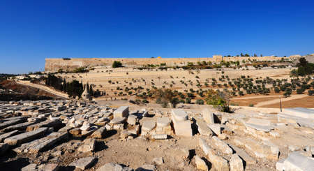 View from Ancient Jewish Cemetery  to Walls of the Old City of Jerusalem photo