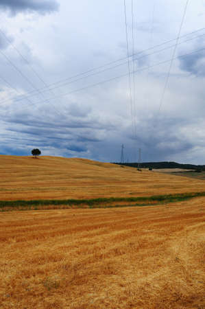 inclement weather: High-voltage Lines In Tuscany In Inclement Weather Stock Photo