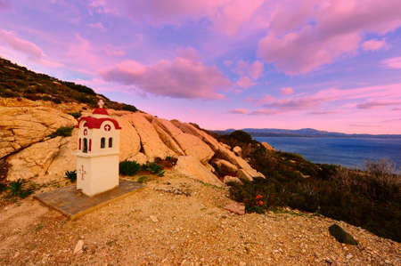 Small Greek Orthodox Chapel on The Island of Rhodes, Sunset Stock Photo - 8634728