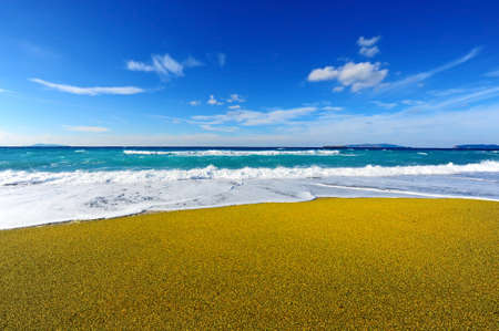 extensive: Tidal Wave on Extensive Sandbar on The Island of Rhodes