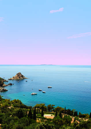 Typical Italian Seascape With Hills And Indented Coastline, Sunset photo