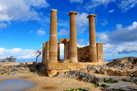 rhodes: Ancient Temple on The Beach of The Greek Island of Rhodes