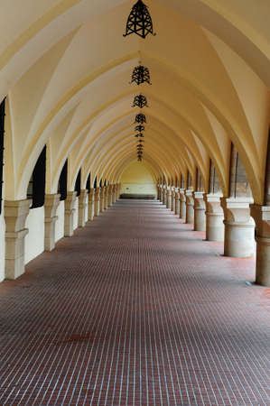 rhodes:  Long Loggia in The Medieval Building on the Island of Rhodes Stock Photo