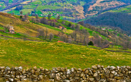 Fields on the Slopes of The Pyrenees With Old Farmhouses photo
