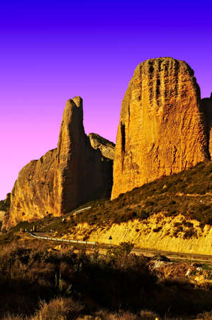 Canyon in the Spurs of the Pyrenees Mountains at Sunset photo