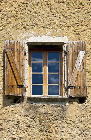 wooden facade: Window in Viviers, the Department de l Ardèche in the Region Rhône-Alpes