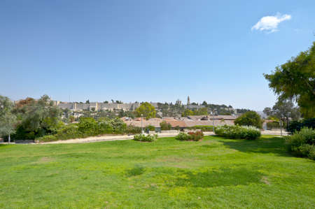 Green Meadow on the Background of the Ancient Walls of Jerusalem Stock Photo - 10930127