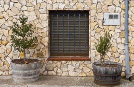 spanish homes: Particolare della facciata della Casa spagnola Decorato con Fiori Archivio Fotografico