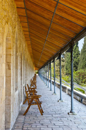 Covered wooden gallery in Jerusalem, Israel photo