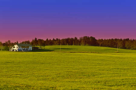Bavarian Landscape with Farmhouse at Sunset Germany photo