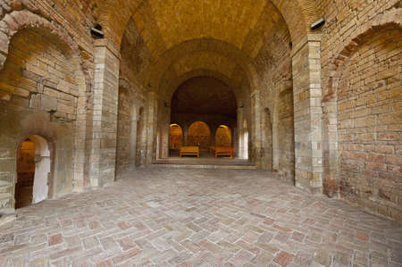Vaulted Dungeon Royal Monastery in Aragon, Spain photo