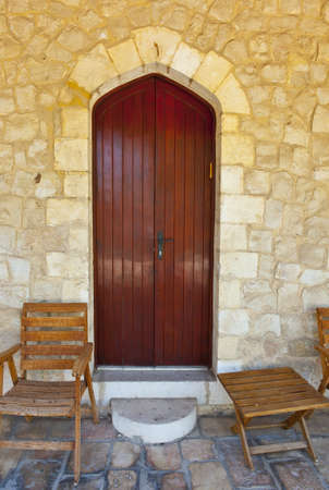 mezuzah: Wooden Chairs in Front of the House of Jerusalem, Israel