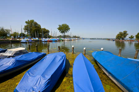 Tarpaulin Covers for Boats, the Lake Chiemsee in Bavaria Stok Fotoğraf