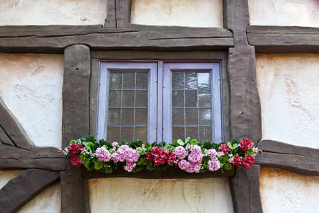 Wall of the Spanish House with Wooden Beams and  Window Stock Photo - 11671829