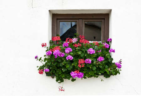 Typical Bavarian Window Decorated With Fresh Flowers Stock Photo - 12396084