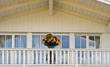 Typical Wooden Loft Decorated With Fresh Flowers in the Bavarian Alps, Germany photo
