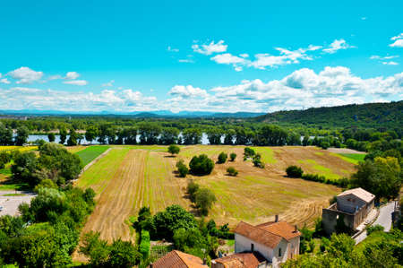 Valley of the Rhone River near the Town of Viviers, France photo
