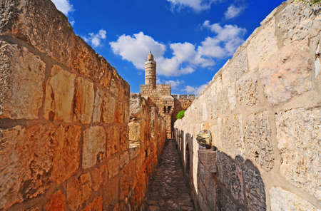 View From Top of Ancient Walls Surrounding Old City in Jerusalem Stock Photo - 12396317