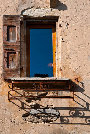 castings: The French Window on the Facade of  Old House  Stock Photo