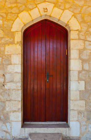 mezuzah: Close-up Image of  Wooden Ancient Israel Door Stock Photo