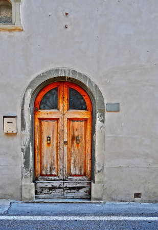Close-up Image of Wooden Ancient Italian Door photo